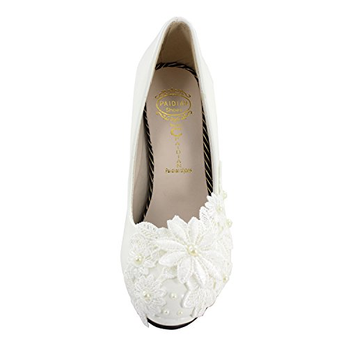 PU Flower Msmushroom White Wedding Shoes Woman's with RYxYEw0acq