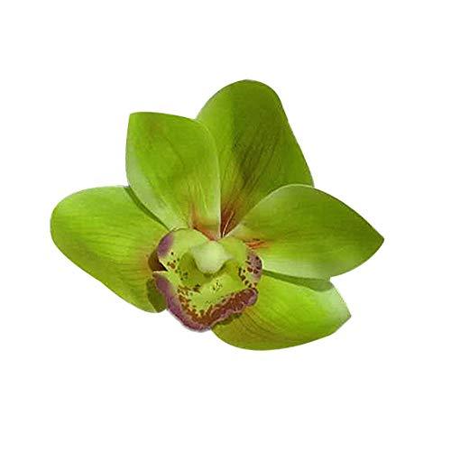 Orchid Corsage - Calcifer 20 Pcs 3D DIY Cymbidium Flower Heads Orchids Simulation Flowers Corsage PU Flower Heads Wedding Decoration (Green)