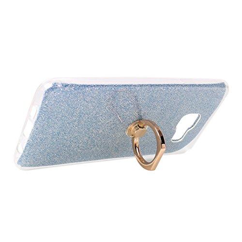 Galaxy A3 2016 Funda con Anillo, Galaxy A310 Carcasa, Moon mood® Suave TPU + Papel Brillo Hybrid 2 en 1 con 360 Rotación Anillo Soporte Función Bling Glitter Sparkle Silicona Trasero Caso Cubierta Pro Azul