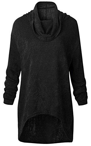Atomene Col et Noir Femme Pullover taille mode Manches Tricots Sweater YOGLY Casual et Top Mi et Longue Grande longues Hiver Montant Pullover 1EqIxxpywt