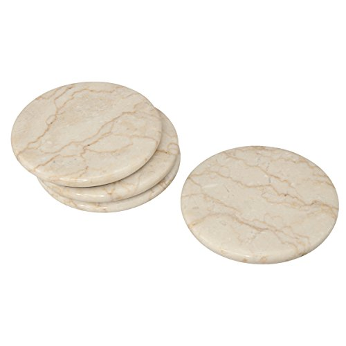 Creative Home 4 Piece Champagne Marble Coaster Set (4