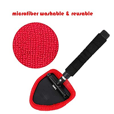 MGGi Windshield Cleaner Tool, Extendable Handle and Adjustable Triangular Shape Window Windshield Cleaner Kit, Car Windshields Washing Brush, with 2Pcs Washable and Reusable Pads: Automotive