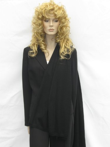 Cashmere Pashmina Group: Cashmere Scarf Shawl Stole Wrap (Sweater Knit Cashmere Shawl) Black by Cashmere Pashmina Group (Image #2)