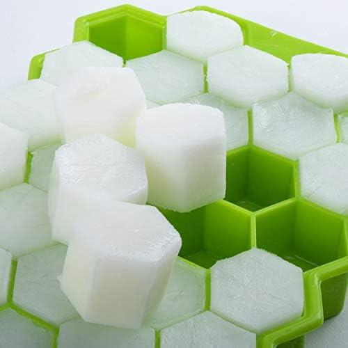 iNeego Bac à Glaçon en Silicone Hexagonal avec Couvercle, sans BPA, 2 moules à Glaçons de 74 Plateaux, Bacs à Glaçons pour Aliments pour Bébés, Boissons, Bière, Whisky, Glaçons aux Fruits