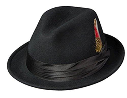 Broner Black Wool Felt Fedora, Satin Band, Bicentennial (XL, Black)