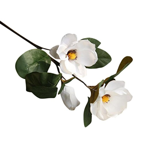 Nikuya Artificial Fake Flowers Magnolia Leaf Floral Wedding Bouquet Party Home Decor (White) ()