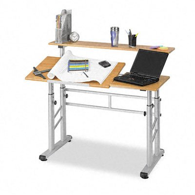 Safco Products 3965MO Split Level Drafting Table, Height-Adjustable, Medium Oak by Safco