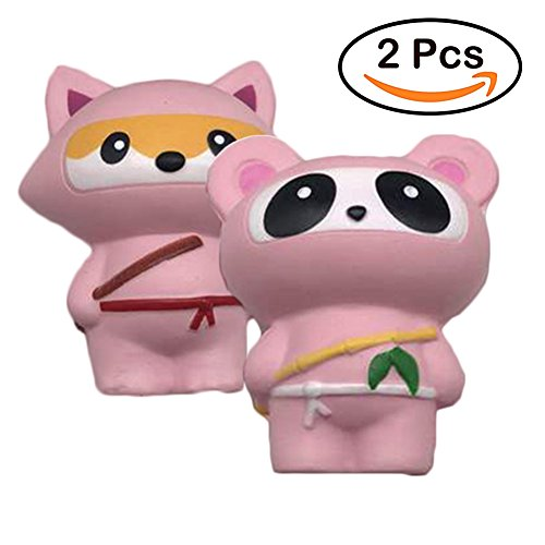 2 PCS Pink Ninja Squishies Kawaii Jumbo Cream Scented Slow Rising Squishies, Peoria Charms Squeeze Kid Toy for Stress Relief and Time - Kids Peoria