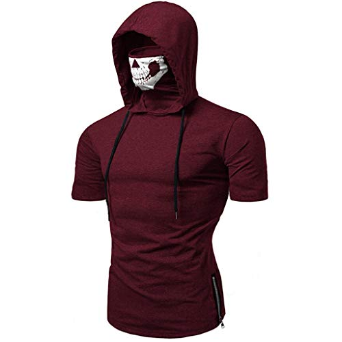 Skull Mask Hooded Short Sleeve Shirt Men Solid Color Casual Fashion Top -