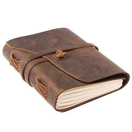 Leather Journal Writing Notebook Handmade Art Sketchbook,Travel Diary Unlined Paper 7x5 Inches Best Gift for Men&Women