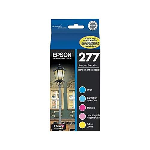 (Epson Claria 277 Multi-pack Ink Cartridge - Inkjet - 360 Page Cyan, 360 Page Light Cyan, 360 Page Magenta, 360 Page Light Magenta, 360 Page Yellow - 5 / Pack - OEM T277920)