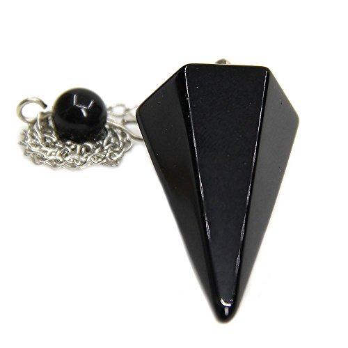 Amandastone Black Agate Gemstone Rock Crystal Hexagonal Pointed Reiki Chakra Pendant Pendulum (Agate Pendulum)