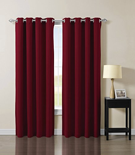 """Solid Grommet Top Thermal Insulated Blackout Window Curtain -Burgundy - 52""""W x 84""""L - (Set of 2 Panels)"""