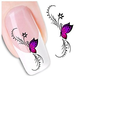 ❤️ ❤JPJ(TM) Women Nail Stickers,Girls Fashion Charming Nail Stickers,3D Design Butterfly Decals,Nail Art Stickers,Stickers for Nail Art Design Tips To Decoration (Purple And Black Halloween Nail Designs)