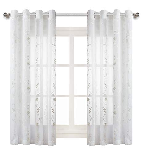 White Floral Embroidered Sheer Curtains for Living Room 63 inch Length Rustic Embroidery Window Treatment Set Voile Drapes for Bedroom, Living Room Rod Pocket, 2 Panels - Ivory ()