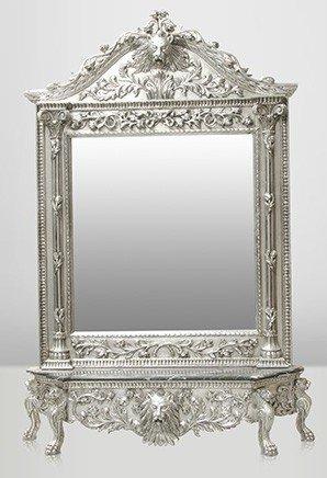 casa padrino luxus barock spiegelkonsole silber lion luxus wohnzimmer mobel konsole mit spiegel lowenkopf