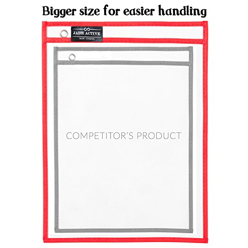 Dry Erase Pockets - Reusable + Oversized - Size 10 X 13 Inches - 30 Pockets for Adults and Children - Mixed Colors - Ideal to use at School or at Work Photo #2