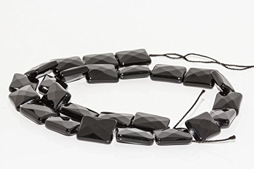 [BRCBeads AAA Black Faceted Onyx Agate Rectangle shape Loose Beads 12x16mm Approx 15.5¡° 25pcs For Jewelry Making] (Faceted Rectangle Shape)