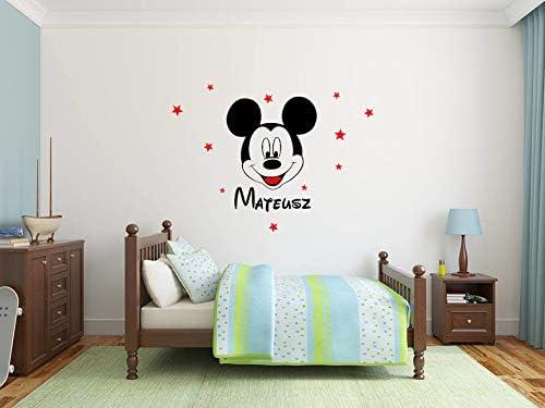 Nom de b/éb/é personnalis/é WallSticker Heureux Mickey la souris Stickers muraux Fille Biy Vinyle B/éb/é Mural Fond d/écran D/écoration de la chambre Design de maison DIY