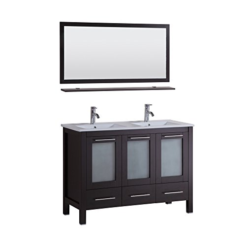 HTU Sabrael 48 in. Double Vanity in Espresso with Porcelain Vanity Top in White and Mirror (Double Inset Sink)