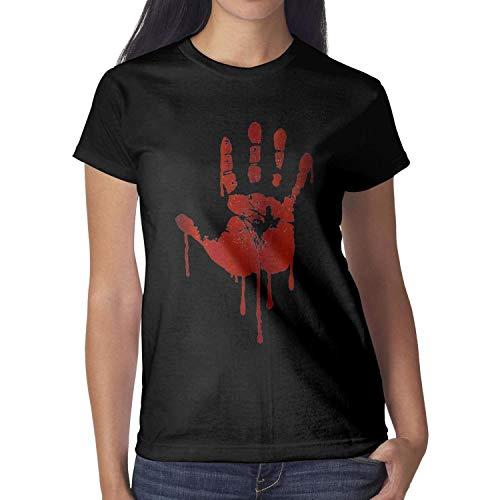 Melinda 3D Blood Palm Halloween Decorations Women tee Shirt Halloween Costumes for Women -