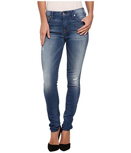 7 For All Mankind Womens Distressed Mid-Rise Skinny Jeans Blue 30
