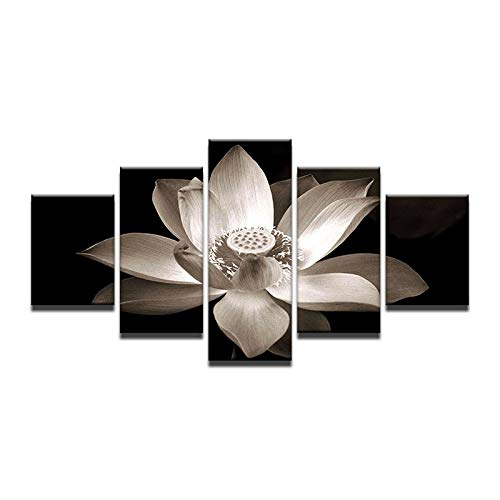 40x60 40x80 40x100cm No Frame 5pcs   Set Combined Modern Oil Painting White Lotus in Black Canvas Wall Art Picture Wall Pictures for Living Room