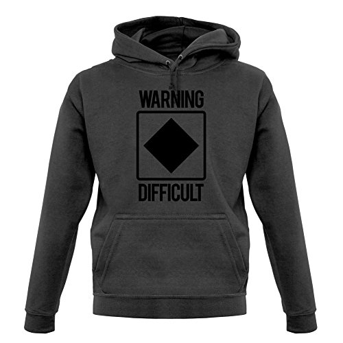 Warning Difficult - Unisex Hoodie - Graphite - XXL
