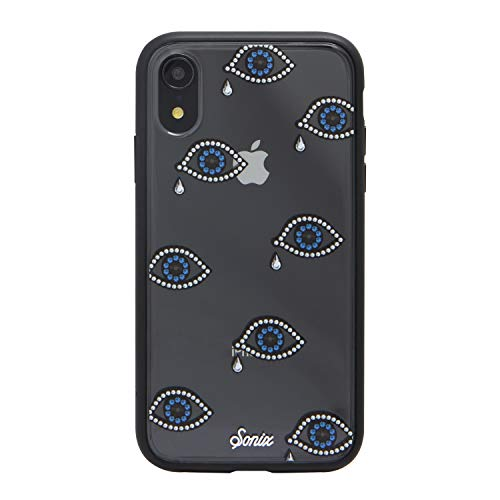 Sonix Eye Phone Rhinestone Tear Drop Cell Phone Case [Military Drop Test Certified] Protective Clear Case for Apple iPhone XR