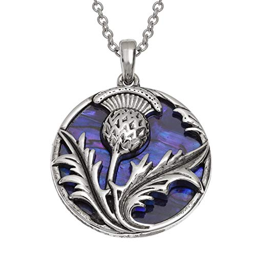Jewellery Scottish Thistle (Talbot Fashions Tide Jewellery Inlaid Purple Paua Shell Scottish Thistle Pendant Necklace)