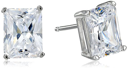 Radiant Cut Earrings - Platinum Plated Sterling Silver Emerald Cut Cubic Zirconia Stud Earrings (4 cttw)