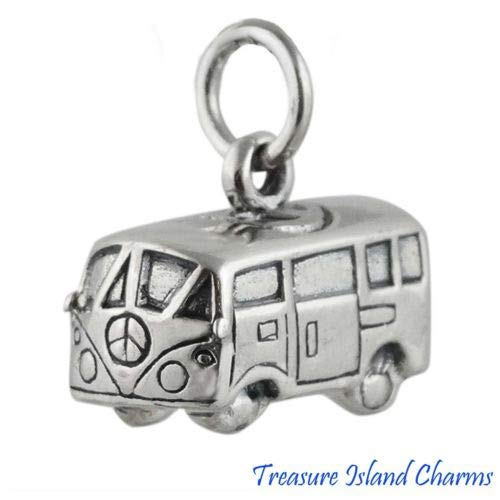 Classic 60s Hippie Minivan Van Bus with Peace Sign 3D 925 Sterling Silver Charm Crafting Key Chain Bracelet Necklace Jewelry Accessories ()