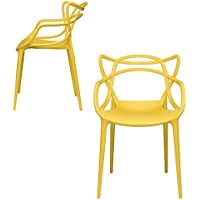 Set of 2 - Masters Entangled Chair - Modern Designer Armchairs for Dining Rooms, Offices and Kitchens (Yellow)