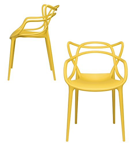 (Set of 2 - Masters Entangled Chair Replica - Modern Designer Armchairs for Dining Rooms, Offices and Kitchens (Yellow))