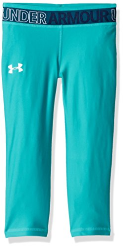 - Under Armour Girls' HeatGear Armour Capris, Teal Punch /White, Youth Medium
