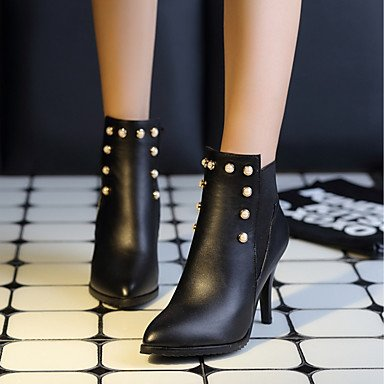 Women's Shoes PU Leatherette Fall Winter Comfort Novelty Fashion Boots Boots Stiletto Heel Pointed Toe Booties/Ankle Boots Rivet For red CIq5vOSeyL