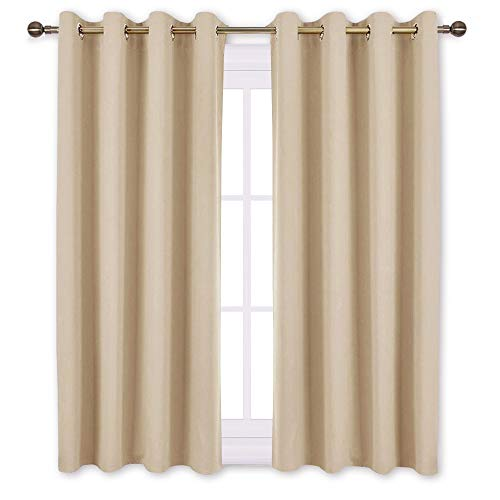 NICETOWN Bedroom Curtains Room Darkening Drapes - Biscotti Beige Curtains/Panels for Bedroom, Grommet Top 2-Pack, 52 x 45 Inch Long, Thermal Insulated, Privacy Assured