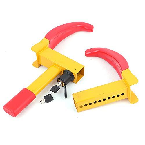 Car Anti-Theft Lock Heavy Duty Car Van/Caravan Wheel Clamps Claw Style- Yellow/Red 2 Keys
