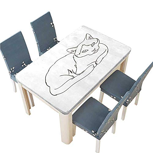 PINAFORE Solid Tablecloth Simple line Drawing of a cat Table Cover W41 x L80.5 INCH (Elastic Edge)