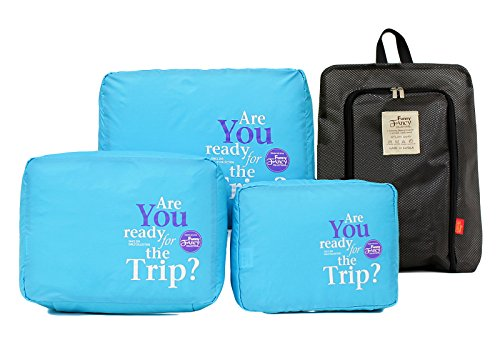 Travel Cubes for Packing Luggage Organizer 3pc and Shoe Laundry Bag Malibu Blue