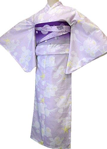 溶接理想的優れました着物美人 浴衣 3点セット 変り織り 女浴衣 半幅帯紫 浴衣帯 ハイヒール 厚底下駄付き 浴衣セット 街着 大人 女性用 M F L 155-165 【 薄紫 白 貝遊び 】a448506