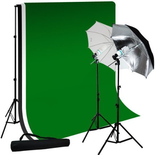 Limostudio Photo Studio 10'X12' Muslin Black White Green Chromakey Backdrop Support Kit 700W 33'' Multi Photography Umbrella Kit by LimoStudio