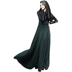 Weixinbuy Autumn Kaftan Abaya Islamic Muslim Women Long Dress M