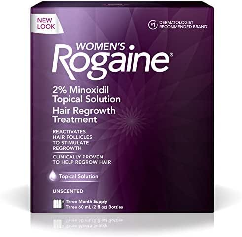 Women's Rogaine 2% Minoxidil Topical Solution for Hair Thinning and Loss, Topical Treatment for Women's Hair Regrowth, 3-Month Supply