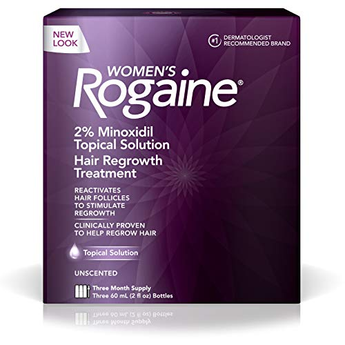 (Women's Rogaine 2% Minoxidil Topical Solution for Hair Thinning and Loss, Topical Treatment for Women's Hair Regrowth, 3-Month Supply)