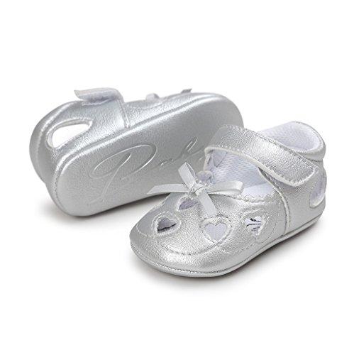 Baby Schuhe Auxma Baby Mädchen Frühling Sommer Schuhe Bowknot Prinzessin Schuhe Für 3-18 Monate (3-6 M, Beige) Silber
