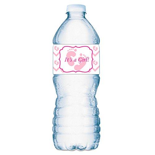 20 Its a Girl Pink Footprints Baby Shower Party Water Bottle Labels; Waterproof Water Bottle Wrappers; Its a Girl Water Bottle Stickers ()