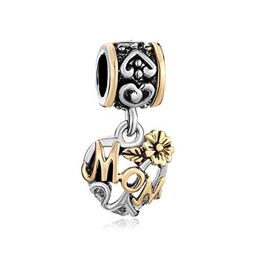 CharmSStory Mom Heart Love Flower Family Charm Dangle Beads Charmss For Bracelets - Mom Flower Charm