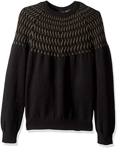 (A|X Armani Exchange Men's Print Sweater, Brush Black/Cable Stitch, S)