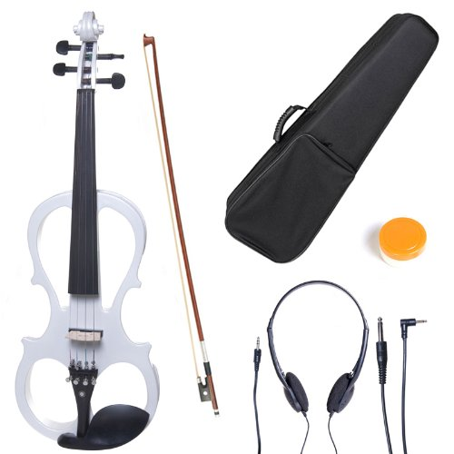 Cecilio L1/2CEVN-L1W Left-Handed Solid Wood Pearl White Electric Violin with Ebony Fittings in Style 1 by Cecilio